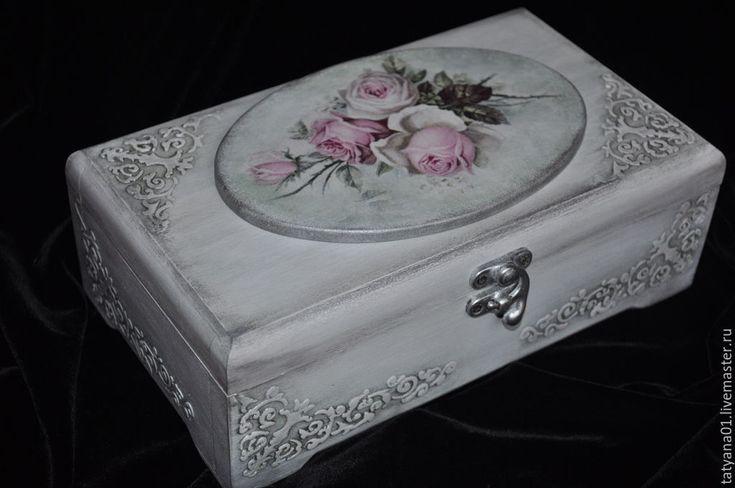 """Купить Чайная шкатулка """"Розы в серебре"""" - серебряный, розовый цвет, роза, шкатулка, шкатулка декупаж"""