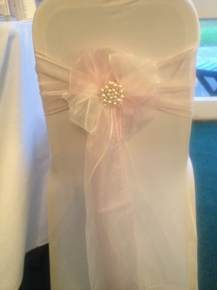 Baby Pink And Ivory Chair Sash Pink Wedding Decor