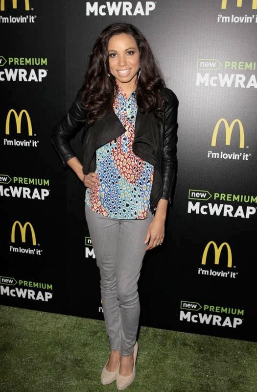 Jurnee Smollett was event appropriate at the McDonald's McWrap Launch party in skinny jeans and a printed top