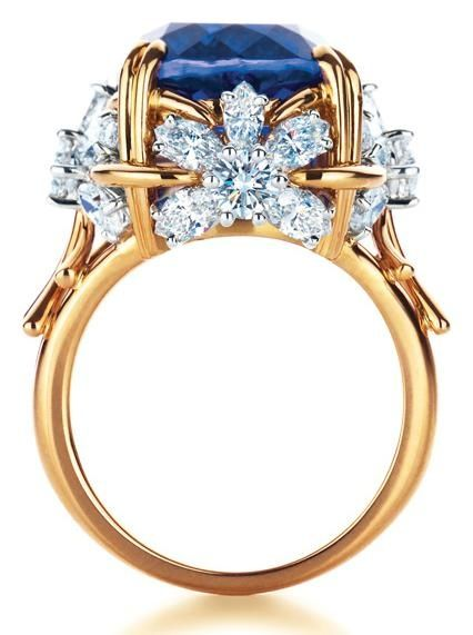 everythingsparklywhite:  Tiffany & Co Schlumberger Flower ring with tanzanite and diamonds.