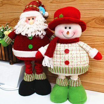 2014 Enfeites De Natal encantadora decoración de Navidad Suministros rojo y verde de Papá Noel Muñeco de nieve patas flexibles Ornamento SHB224 regalo