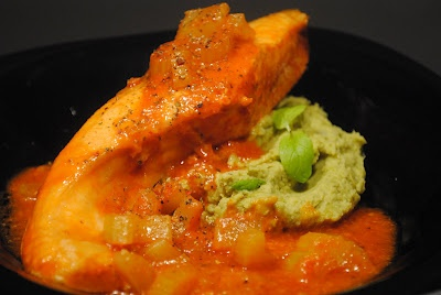 salmon and mint puree