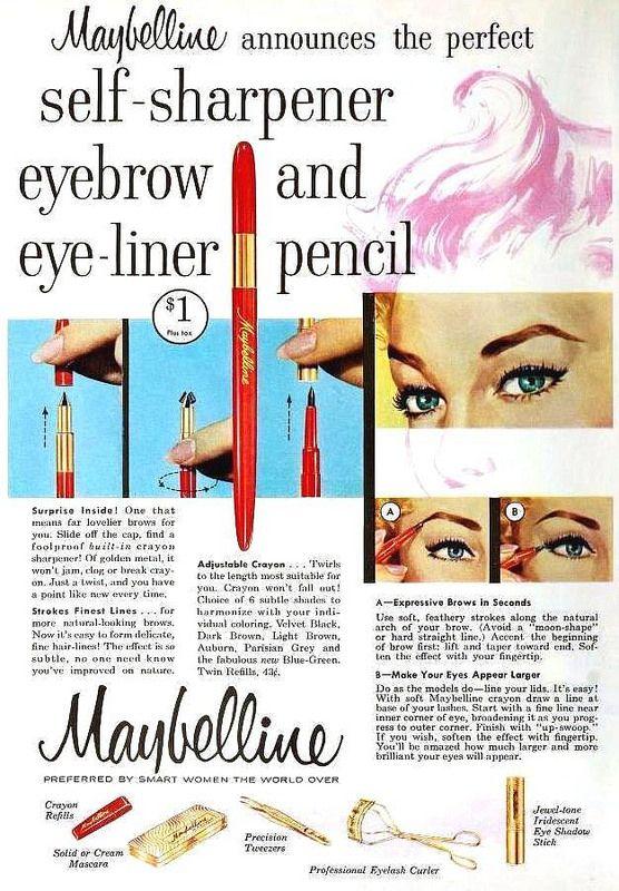 Maybelline Self-Sharpener Eyebrow & Eye-liner Pencil,  October 1957. #vintage #1950s #makeup