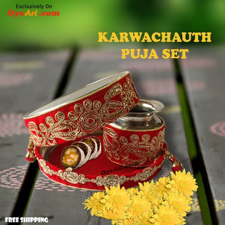 Celebrate the auspicious Karwachauth festival with an elegant Puja set available only at oyeart.com. Hurry....only two pieces left...