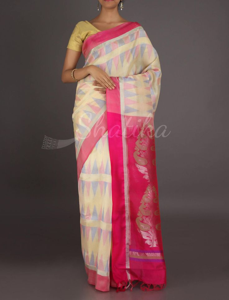 Teja Trikon Cream Sophisticated #MangalgiriSilkSaree