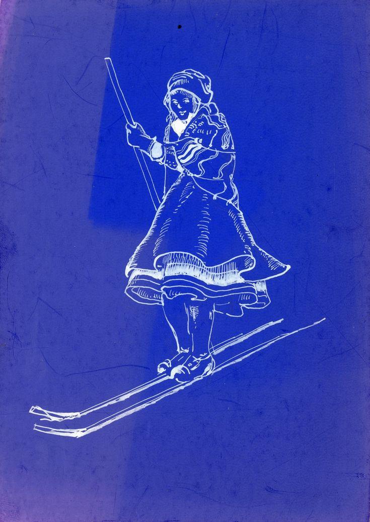 Pike i Setesdalsdrakt på ski.