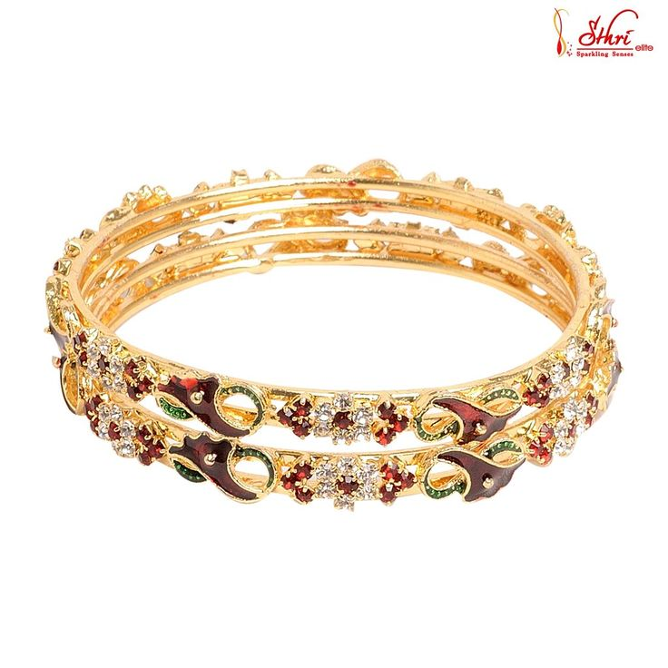Gold Plated Fancy Red&Green Stone Bangles