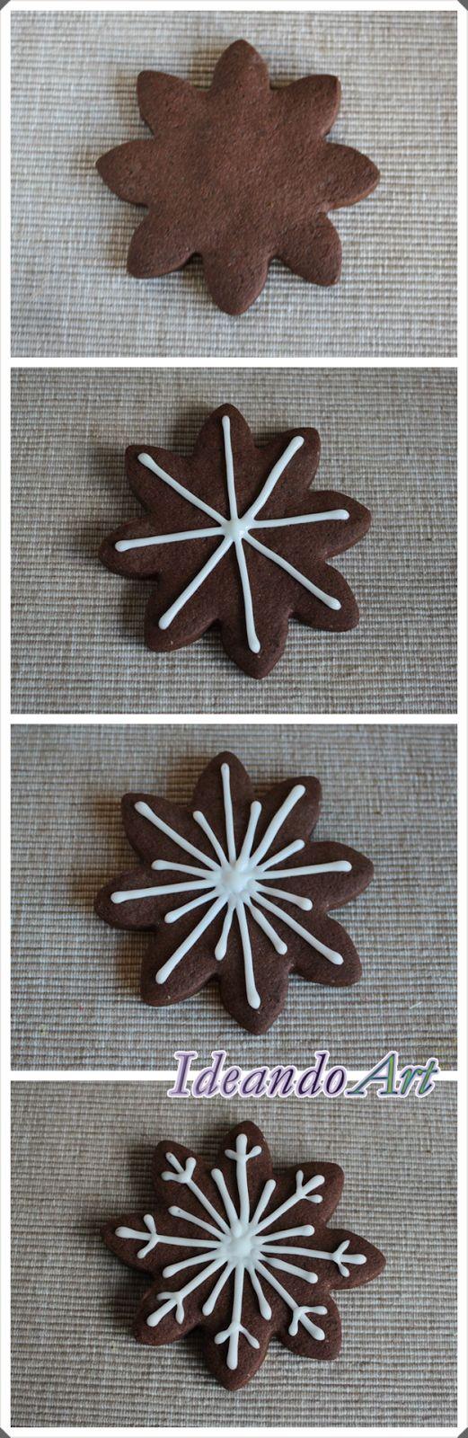 Tutorial decoración galletas de chocolate copo de nieve con glasa by IdeandoArt