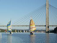 Sailing boats near Kärkinen bridge in Korpilahti, Jyväskylä.