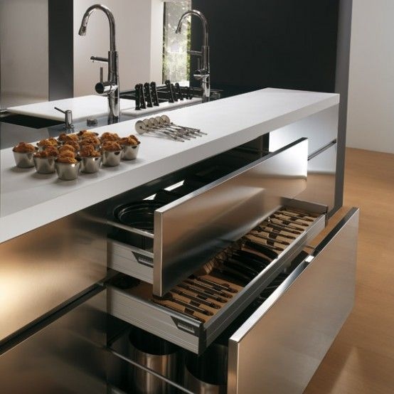 Contemporary Stainless Steel Kitchen Cabinets – Elektra Plain Steel by Ernestomeda   DigsDigs