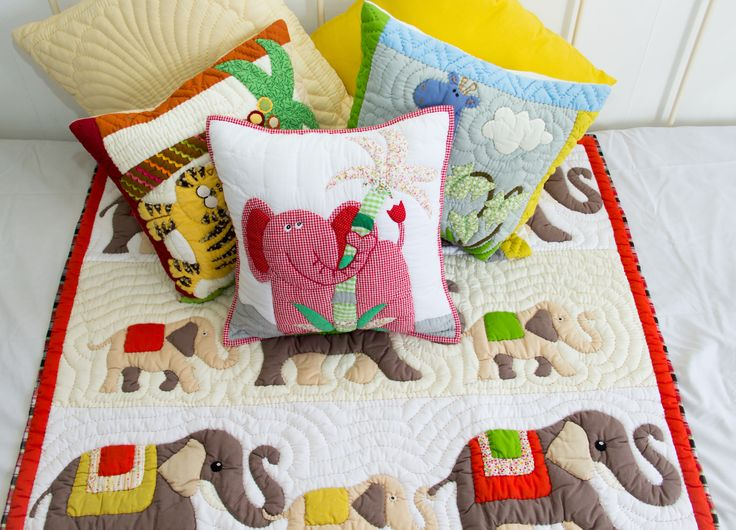 Elephant #quilt - available on our website and in our shops. To see more about this product, click here : https://mekong-plus.com/quilts/baby-quilts/elephant-baby-quilt.html