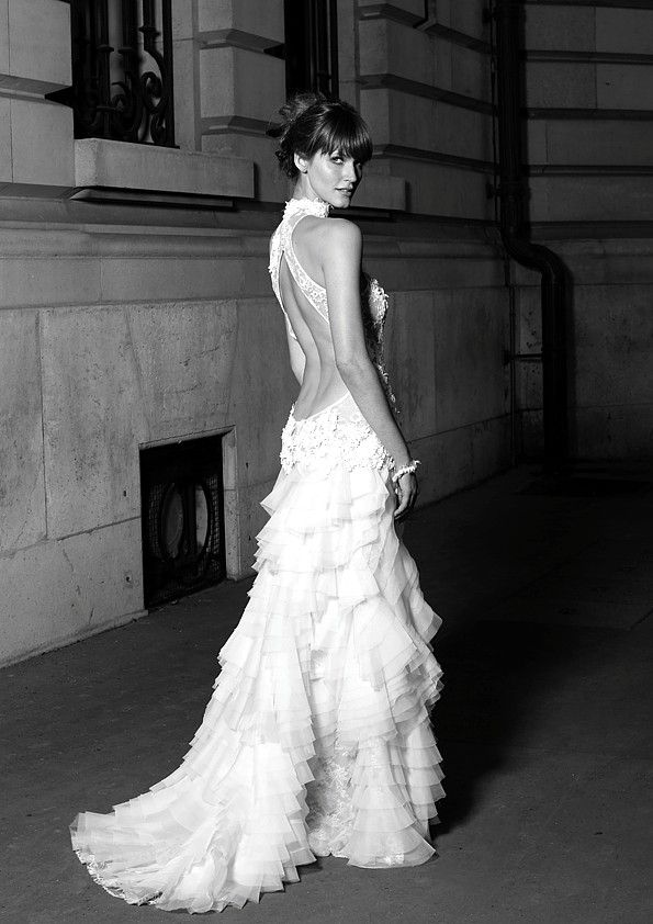 Cymbeline Bridal Ruffled Backless Wedding Gown Low Back Bride Perfect Open Statement Sexy Dress
