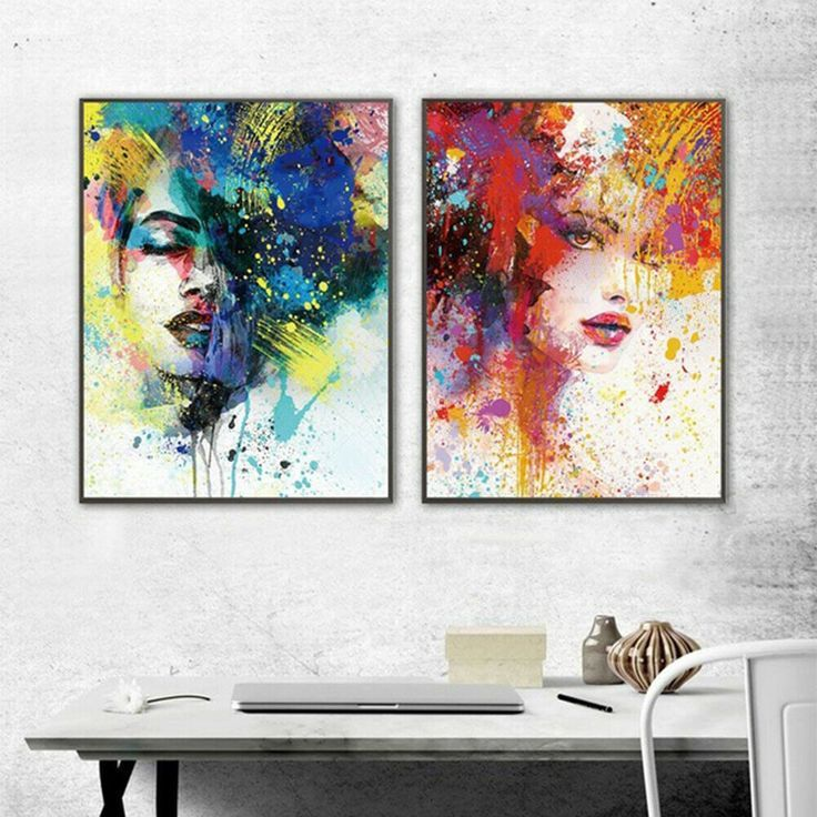 JU_ Colorful Graffiti Girl Canvas Wall Painting Picture Art Cafe Home Decor Ey #…   – 3D Graffiti