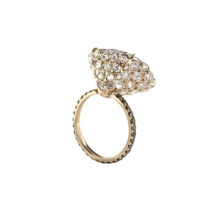 Lito pink gold ring with a 15.5ct pink fancy concave-cut amethyst, white rose-cut and black brilliant-cut diamonds.