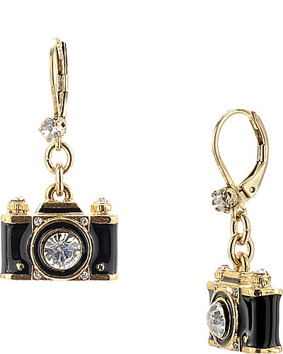 EUROPEAN CAMERA DROP EARRING BLACK-GOLD
