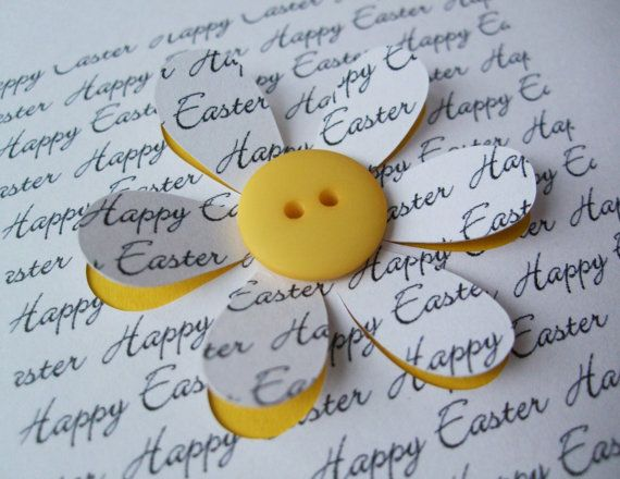 Easter Card - Button Flower - Paper Cut Flower - Handmade Greeting Card on Etsy, £3.60