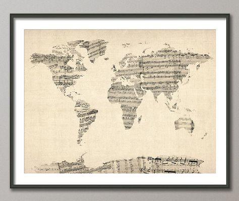 Mappa la mappa del mondo da vecchi spartiti musicali, stampa d'arte (895)