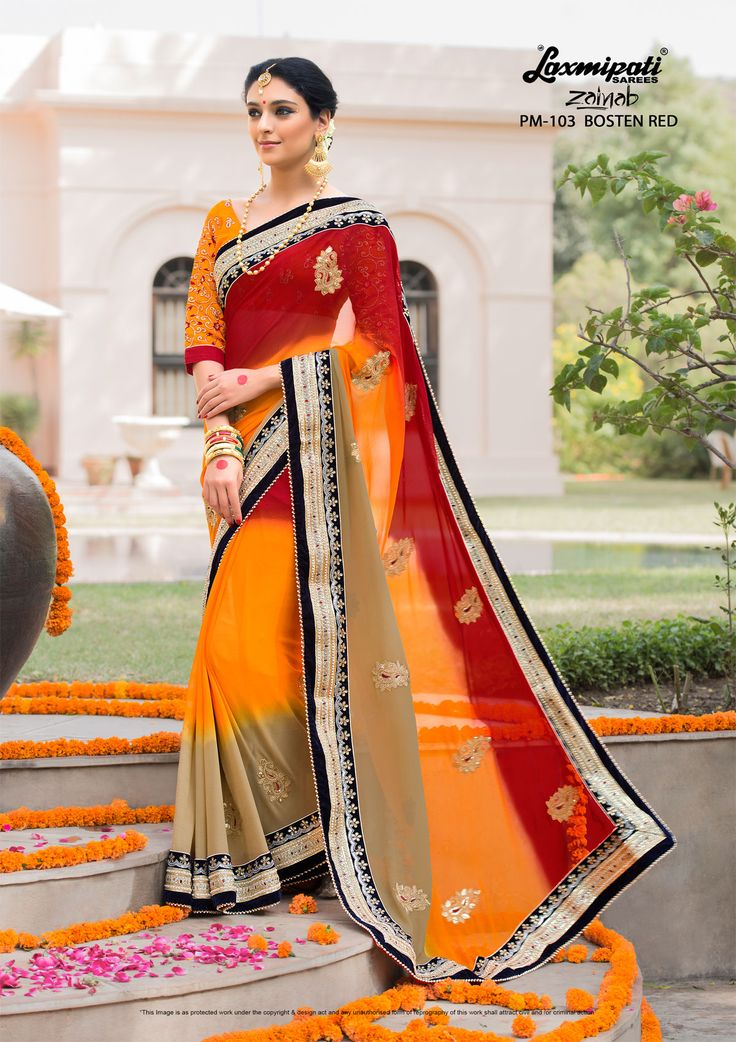 Choose this Perfect Chickoo, Yellow, Red Georgette Cut Patch Work Saree and Orange Rawsilk Stone Stone Work Blouse along with Fancy Stone Work Lace Border online from Laxmipati.com in USA, UK, Canada, India. Shop Now! #Catalogue- #Zainab #DesignNumber- #Zainab 103 #Price - ₹ 4325.00  #Bridal #ReadyToWear #Wedding #Apparel #Art #Autumn #Black #Border #MakeInIndia #CasualSarees #Clothing #Couture #Designersarees #Dress #Ecommerce #Ethnicwear #Exclu