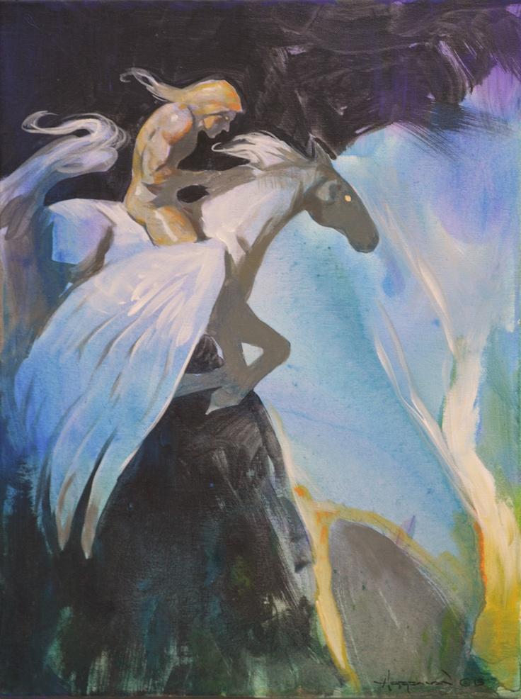 Mike Hoffman Mythology Winged Horse Painting ~PEGASUS ...