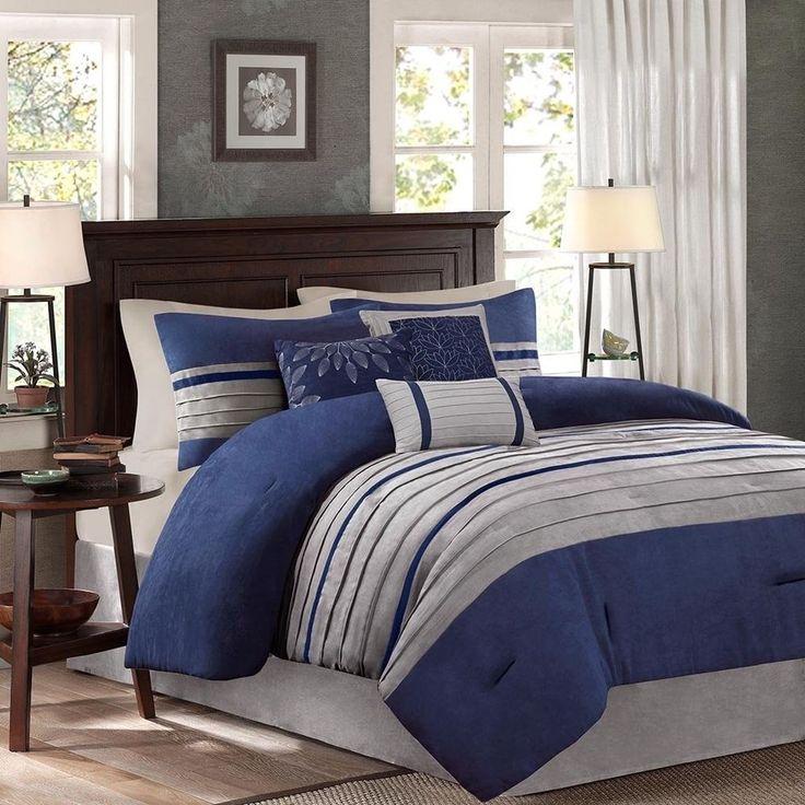 Comforter Set 7 Piece Queen Navy Blue and Gray Ultra-soft ...