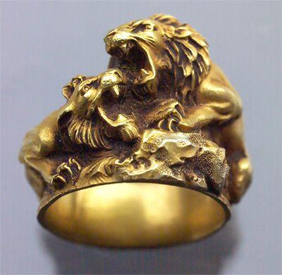 Lion Ring, French 1880 Art Nouveau