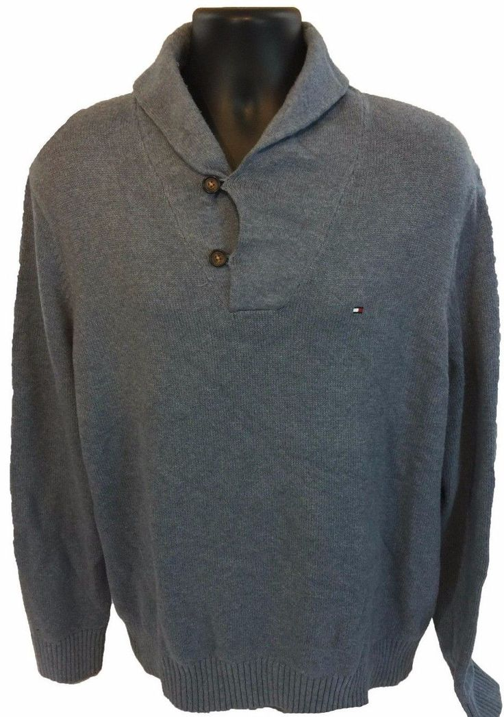 TOMMY HILFIGER Men's Shawl Collared Sweater Size XL Blue Gray 100% Cotton