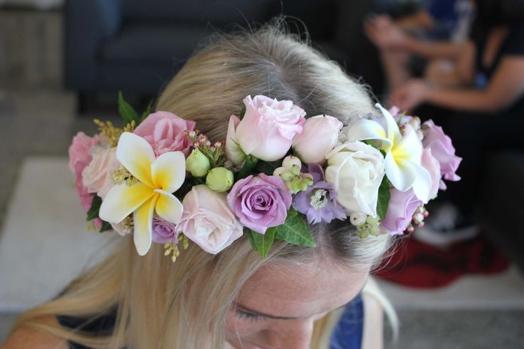 Pink, white and lavender flower crown with frangipanis - Romantic wedding flowers made by Amy's Flowers