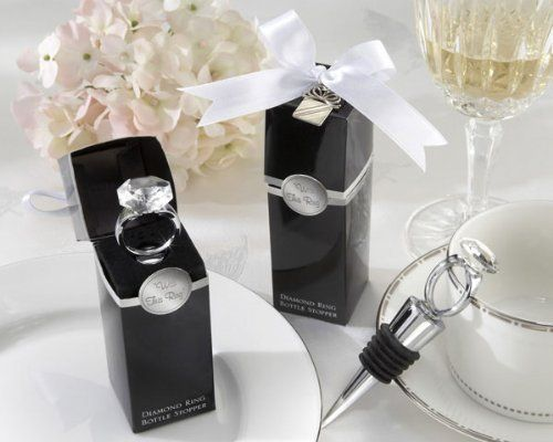 With This Ring Chrome Diamond-Ring Bottle Stopper (Set of 6) by Baby Shower Gifts & Wedding Favors. $23.95