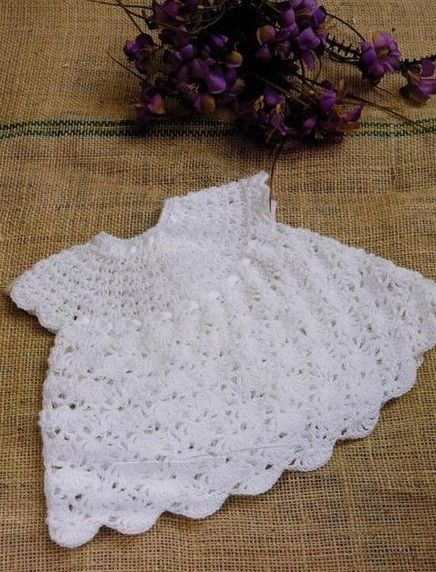 White Baby Dress with Ribbon free crochet graph pattern
