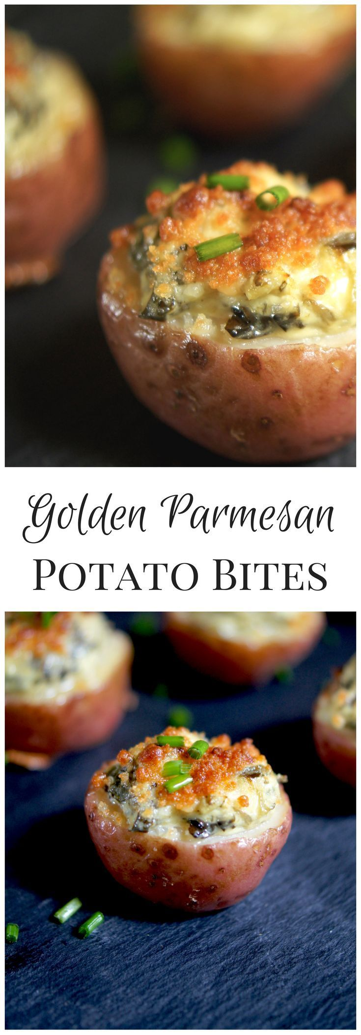 Golden Parmesan Potato Bites: An easy and low-cal New Year's Eve Appetizer or Game Day snack.