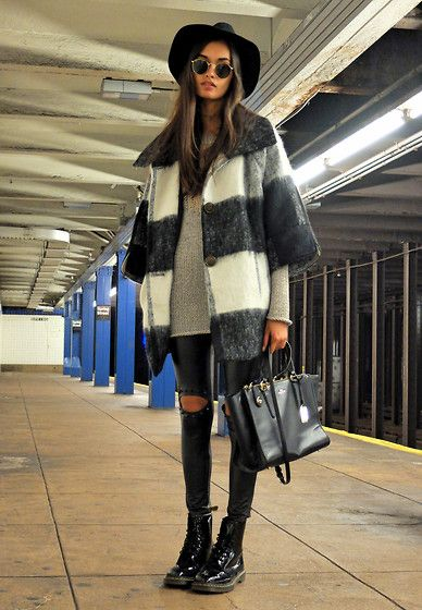 Urban Outfitters Coat, Rag & Bone Sweater, Ray Ban Sunglasses, H&M Hat, Coach Bag, Style Moi Leggings, Dr. Martens Boots