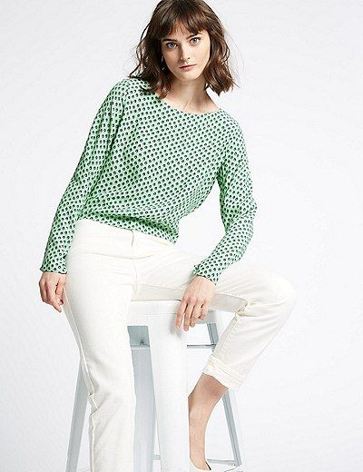 fbaed549ed4683 Round Neck Long Sleeve Blouse   Marks & Spencer London   Clothes ...