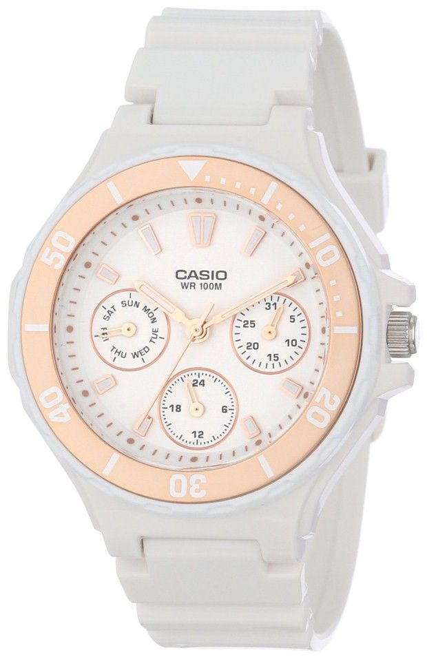 women watches |  White watch for women Casio Women's LRW250H-9A2 Rose Gold Bezel Watch