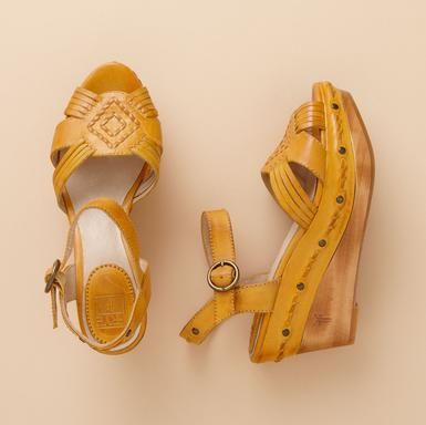 wedge: Fashion Ideas, Footwear, Color, Yellow Shoes, Style Pinboard, Bohemian Style, Boots, Frye Shoes