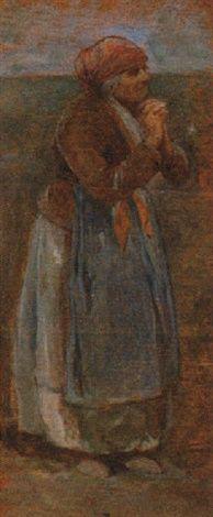 Odoardo Borrani - Una vecchia signora che prega