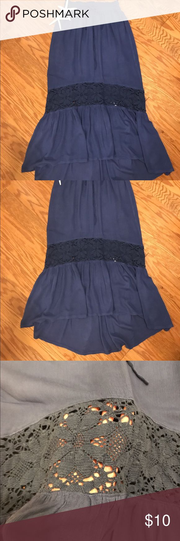 The perfect summer skirt!!🌺🌸🌺REDUCED Dark blue cotton skirt that is cool and stylish for any summer day! Looks great with a simple white tank or tee with a necklace and either flip flops or wedges! Longer in the back and decorative see through floral patterned knitting! Very cute and in good condition! Aeropostale Skirts Asymmetrical