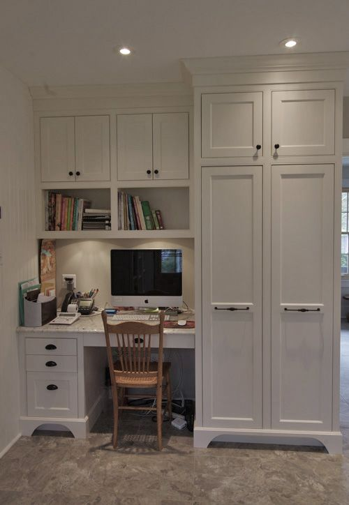 white built in for office | Built-in office in the kitchen