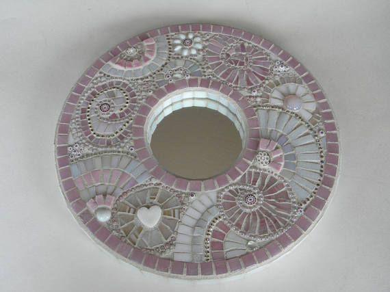 Rose et blanc miroir mosaïque Chalet Chic et Unique