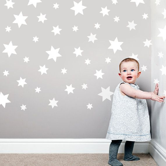 49 White Star Wall Decals Stickers, Removable for ceiling - mimic look of coronata wall paper from O