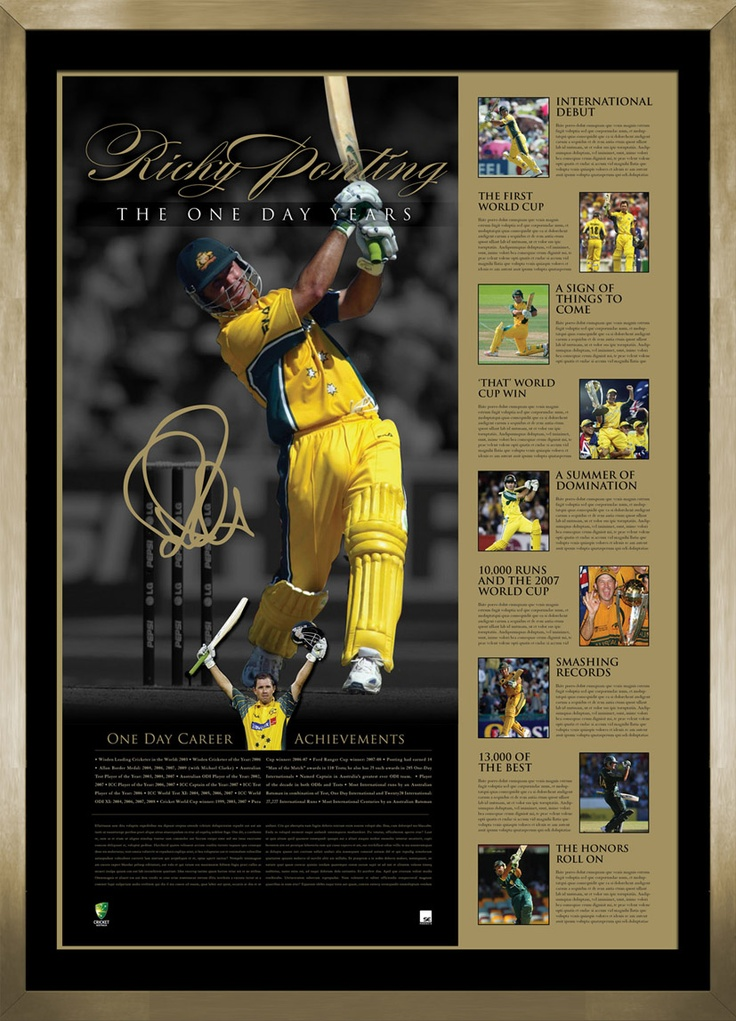 This fantastic piece of memorabilia is in a deluxe timber frame . It is personally signed by Ricky and details the unparalleled ODI career of Australia's most decorated one day cricketer.. Personally signed by RIcky Ponting Officially licensed by Cricket Australia Authenticated by A-Tag and accompanied with Certificate of Authenticity Approx framed dimensions 800 x 600mm Limited to just 250 units worldwide