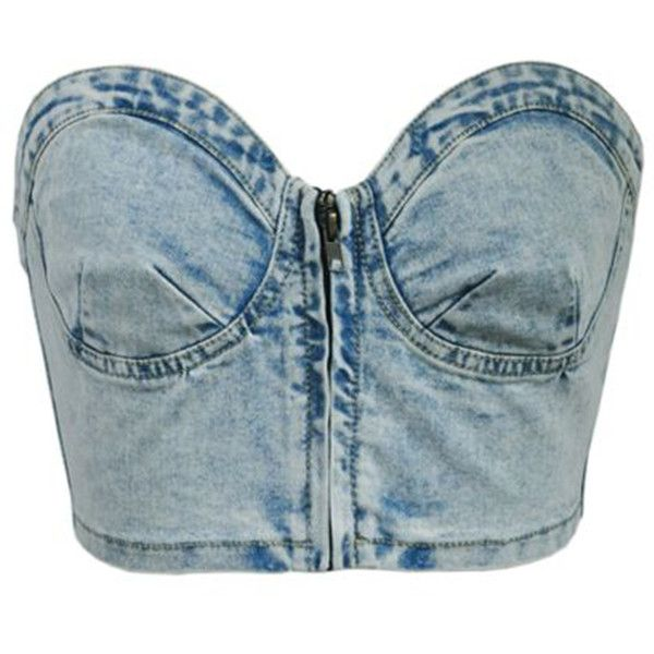 Chicnova Fashion Denim Bandeau Crop Top ($26) ❤ liked on Polyvore featuring tops, slimming tops, zip front crop top, zip front top, bandeau tops and stretchy tops