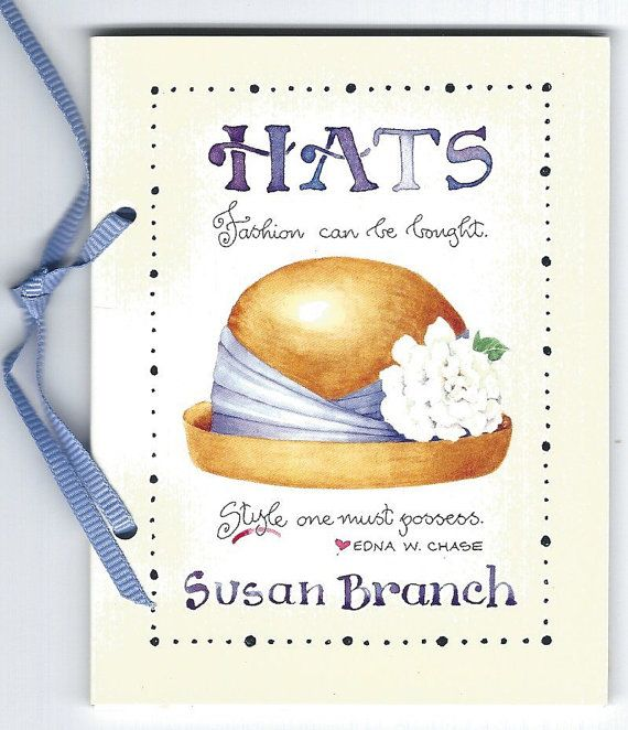 "Vintage Susan Branch Birthday Mini Book ""Hats"" w/Ribbon Binding"