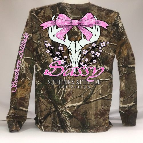 Southern Attitude Sassy Deer Skull Bow Long Sleeve Real Tree Camo T-Shirt