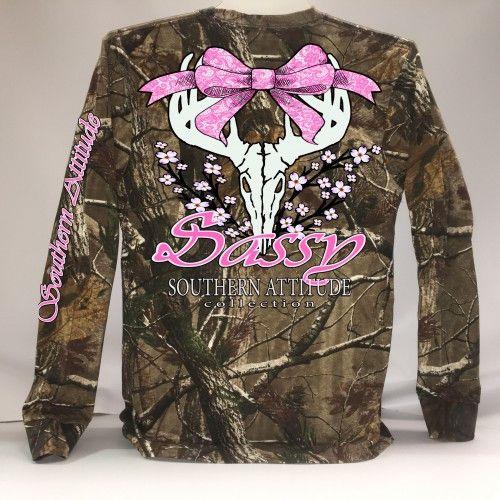 Southern Attitude Sassy Deer Skull Bow Long Sleeve Real Tree Camo T-Shirt