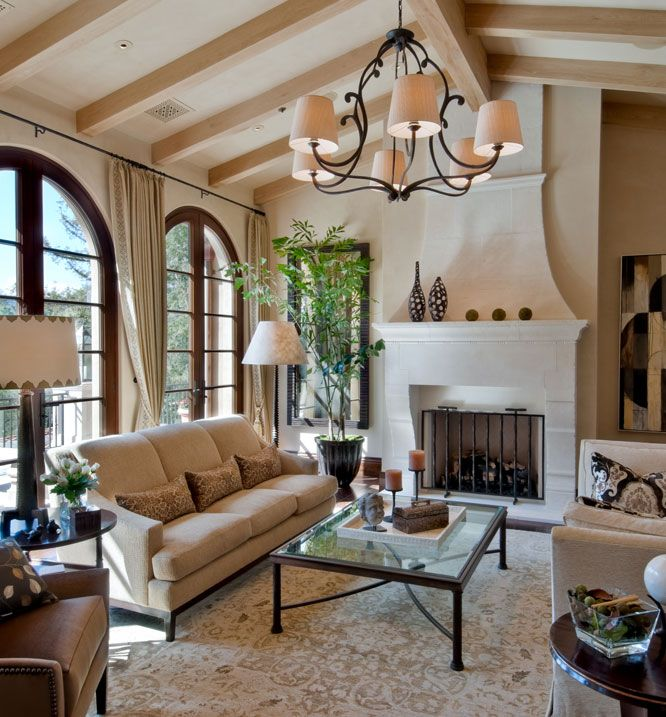 Mediterranean Modern Eclectic Living Room Decor Around Fireplace