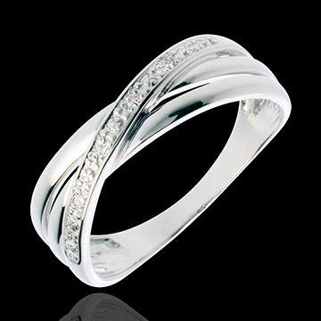 Anello Spirale oro bianco pavé diamanti - 4 diamanti