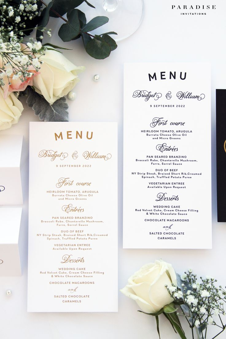 Bridget Gold and Black Ink Menus, Template Menu or Printed Menus, Wedding Stationery all Available