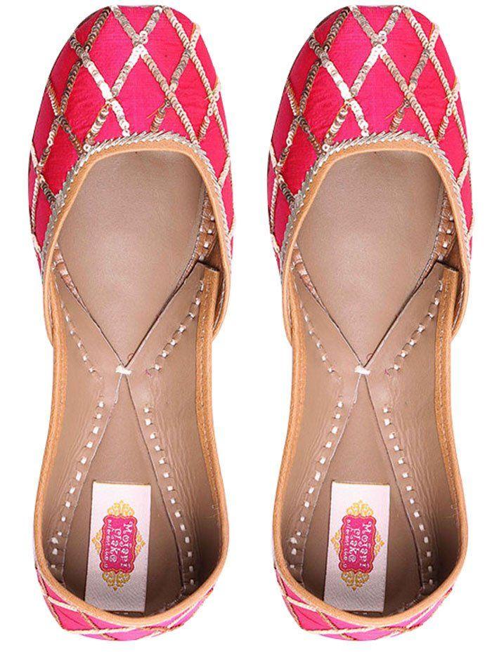 Pink Silk Base Leather Mojari