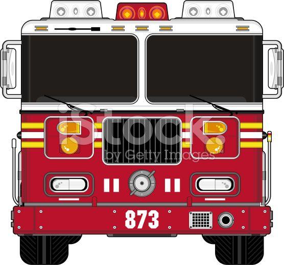 American Style Cartoon Fire Engine royalty-free stock vector art