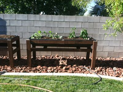 raised garden bed with plastic tubs